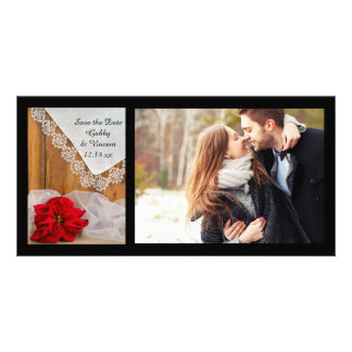 Rustic Poinsettia and Lace Winter Save the Date Card