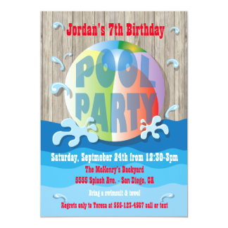 Rustic Pool Party Invitation with Beach Ball