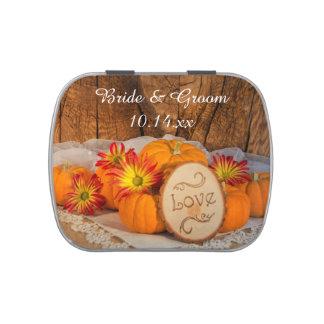 Rustic Pumpkins Fall Wedding Favor Jelly Belly Tin