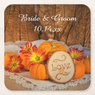 Rustic Pumpkins Fall Wedding Square Paper Coaster