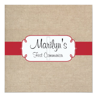 Rustic Red and Beige Burlap First Communion Card