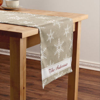 Rustic Red and White Faux Burlap Snowflake Pattern Short Table Runner