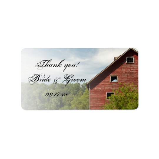 Rustic Red Barn Country Wedding Favour Tag Address Label