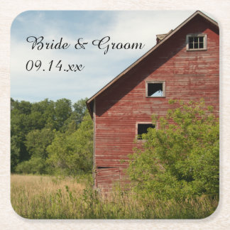 Rustic Red Barn Country Wedding Square Paper Coaster