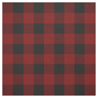 Rustic Red | Black Buffalo Check Plaid Pattern Fabric