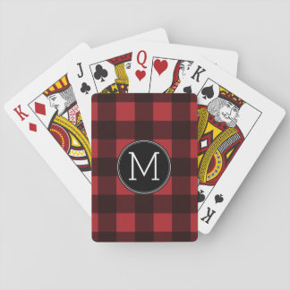 Rustic Red & Black Buffalo Plaid Pattern Monogram Poker Deck