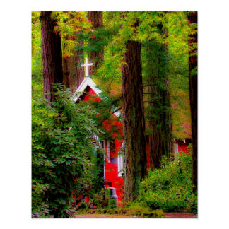 Rustic Red Country Church Poster