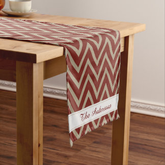 Rustic Red Faux Burlap Chevron Pattern