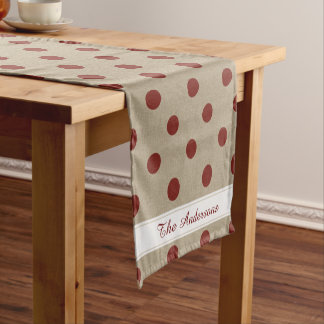 Rustic Red Faux Burlap Polka Dot Pattern