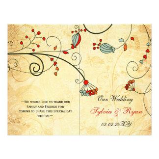 Rustic, red floral folded , fall Wedding program 21.5 Cm X 28 Cm Flyer