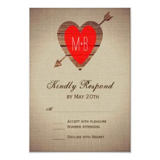 Rustic Red Heart Arrow Wedding RSVP Cards
