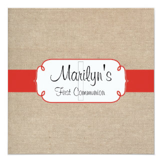 Rustic Red Orange and Beige Burlap First Communion Card