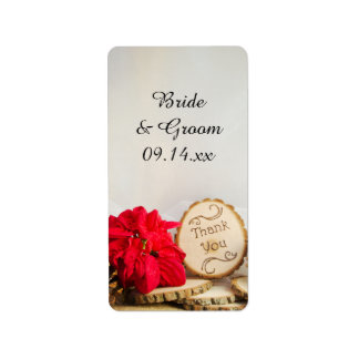 Rustic Red Poinsettia Winter Wedding Favor Tags