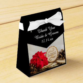 Rustic Red Poinsettia Winter Wedding Wedding Favour Boxes
