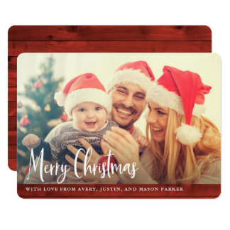 Rustic Red Wood | Merry Christmas Photo Card