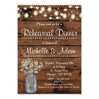 Rustic Rehearsal Dinner Invitation, Rehearsal Card