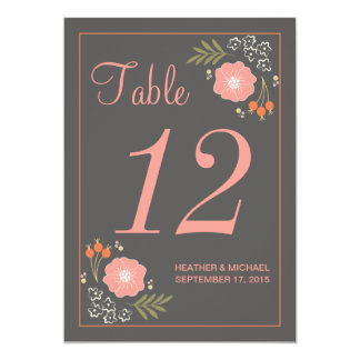 Rustic Retro Flowers Table Number Card