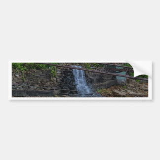 Rustic Rocky Waterfall On the Shoreline of Lake Bumper Sticker