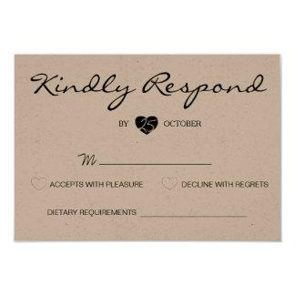 Rustic Romantic Suite Wedding RSVP Card