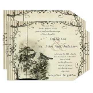 Rustic Romantic Vintage Birdcage Love Bird Wedding Card