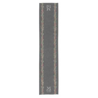 Rustic Rosemary and Berries Watercolor/Chalkboard Short Table Runner