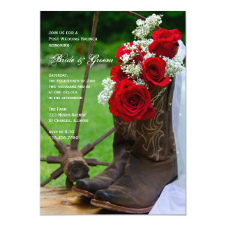 Rustic Roses and Cowboy Boots Post Wedding Brunch 13 Cm X 18 Cm Invitation Card