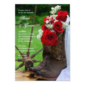 "Rustic Roses Country Wedding Invitation 5"" X 7"" Invitation Card"