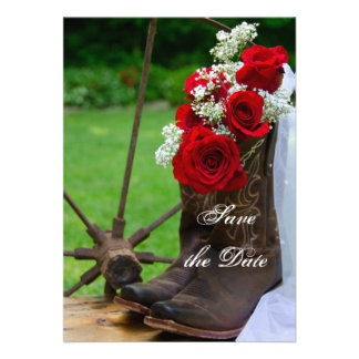 Rustic Roses Country Wedding Save the Date Card