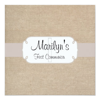 Rustic Salmon and Beige Burlap First Communion Card