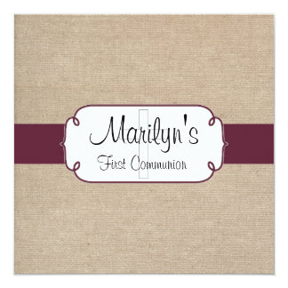 Rustic Sangria and Beige Burlap First Communion Card