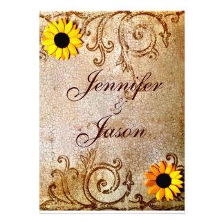 Rustic Shabby Sunflowers Chic Brown Wedding Custom Invite