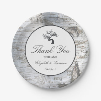 Rustic Silver Birch Tree Wedding 7 Inch Paper Plate