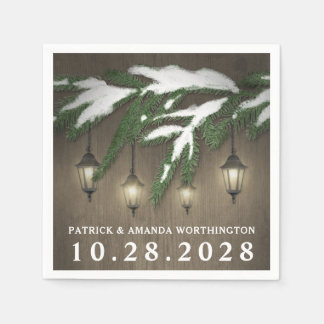 Rustic Snow Evergreen Lantern Wedding Napkins Paper Napkin