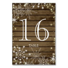 Rustic Snowflakes and Sparkle Table Number