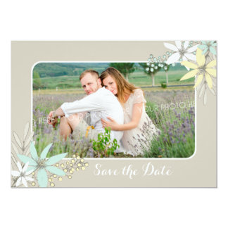 Rustic Spring Flowers Wedding Save the Date Card
