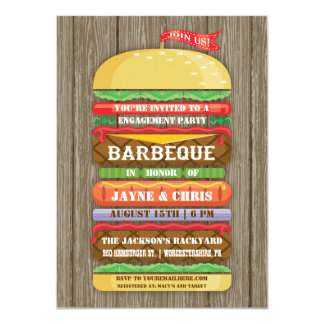 Rustic Stacked Hamburger Engagement Party BBQ 2 Card