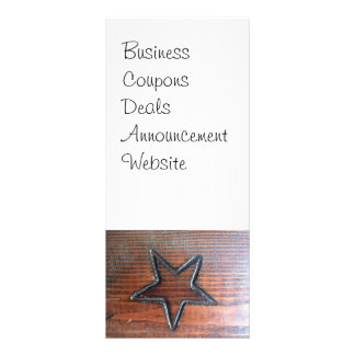 Rustic Star Burned into Wood Table Pyrography Rack Card