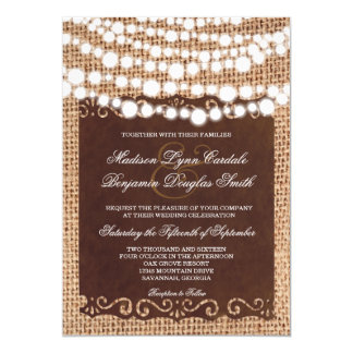 Rustic String Lights Burlap Wedding Invitations