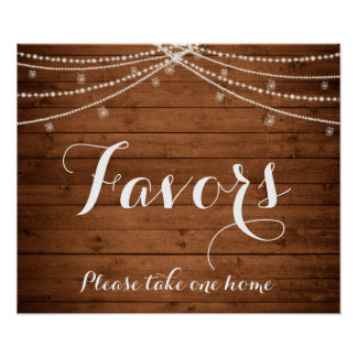 Rustic String Lights Favors Sign Poster