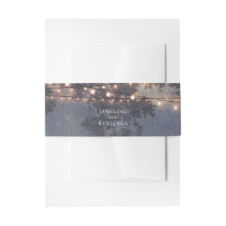 Rustic String Lights Tree Bracnhes Invitation Belly Band