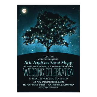 Rustic String Lights Tree Wedding Invitation