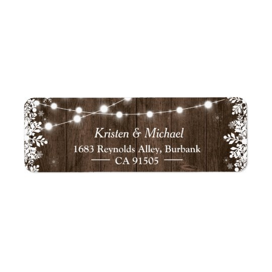 Rustic String Lights Wood Winter Snowflakes Return Address Label