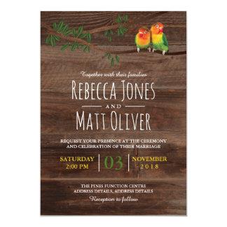 Rustic Summer Tropical Lovebirds Wedding Card