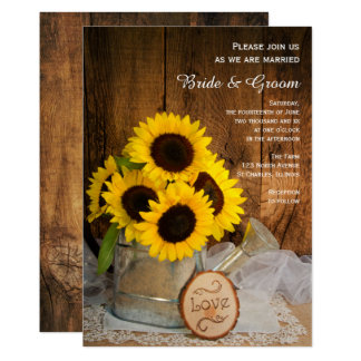 Rustic Sunflower and Garden Watering Can Wedding Card
