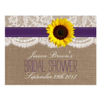 Rustic Sunflower Bridal Shower Recipe Cards