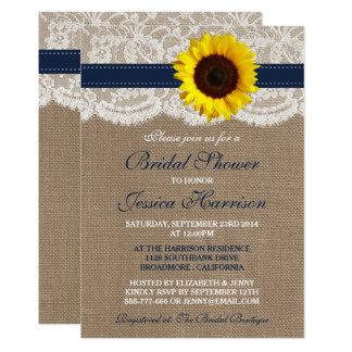 Rustic Sunflower, Burlap & Lace Bridal Shower Card