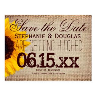 Rustic Sunflower Burlap Save the Date Postcards