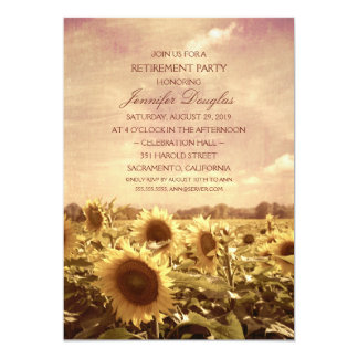 Rustic Sunflower Field Floral Retirement Party Card