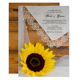 Rustic Sunflower Lace Country Wedding Invitation