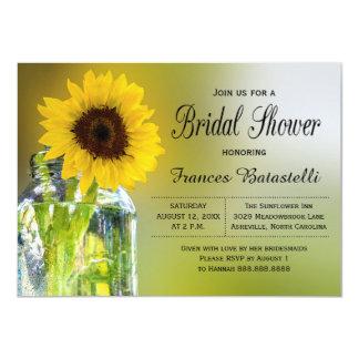 Rustic Sunflower Mason Jar Bridal Shower Wedding Card